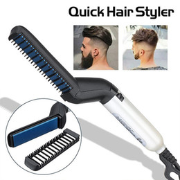 $enCountryForm.capitalKeyWord Australia - Quick Hair Styler For Men Beard Straightener Curling Comb Electric Heating Hairbrush Comb Quick Hair Make Drop Shopping 35 T190720