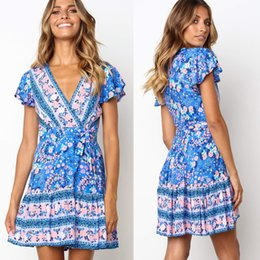 Wholesale Womens Slim Wrap Mini Dress Deep V Neck Short Sleeve Boho Floral Beach Sundress