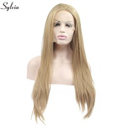 $enCountryForm.capitalKeyWord Australia - Natural Hairline Mixed Blonde Color Synthetic Wigs For Women Long Drag Queen Hair Handmade Lace Front Wig Replacement Wig