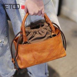handmade cowhide bags 2019 - AETOO Retro Japanese crossbody bag, drawstring handheld bucket bag, handmade leather female head-layer cowhide casual ba