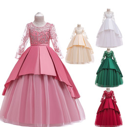 $enCountryForm.capitalKeyWord Australia - 2019 Tulle Infant Toddler Diamond lace Flower Girl Dresses for Weddings and Party First Communion Dresses For Girls Long Ball Gowns 5 8 12 T
