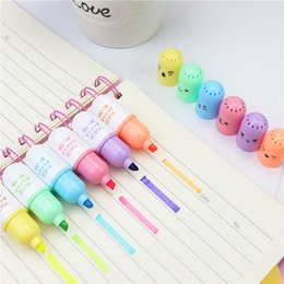 cartoon highlighter Canada - 6PCS Cute Mini Smiling Face Pill Highlighter Lovely Cartoon Painting Pen Marking Pens Students Learn Stationery Supplies