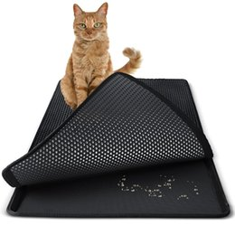 Sizes For Beds UK - 3 Size Waterpoof Cat Litter Mat EVA Double Layers Cat Litter Trapper Mats Easy Clean Collect Sands for Protect Floor Carpet Box