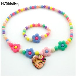 lovely heart photos Australia - 2019 Beauty Lovely Flower Girls Photo Flower Necklace Cute Glass Cabochon Demo Flat Back Heart Pendant Necklace Children