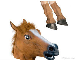 $enCountryForm.capitalKeyWord Australia - Wholesale Halloween Props Adult Horse Head Masks and Horse Hooves Gloves Animal Latex Masks Birthday Party Rubber Silicone Face Mask