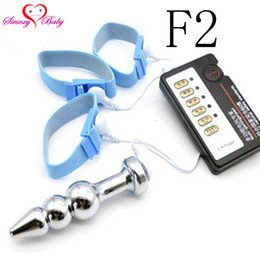 penis beads toys Australia - F2 Anal electro Plug Beads Electric Shock Three Penis Ring Awesome Themed Toys Electro stimulation sex toys for TENS Adult Game Y191108