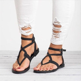 330dda91f 2019New Summer Women Sandals Cross Strappy Flat Lace Up Gladiator Fashion  Open Toe Big Size Beach Ladies Shoes