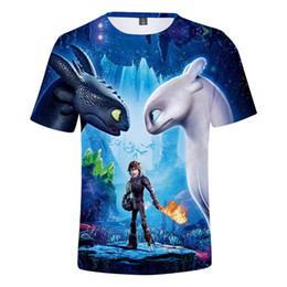 cartoon tees NZ - 2018 Pocket Toothless T-shirt Boy Cute Tops How To Train Your Dragon 3 Cartoon Tees 3d T Shirt Summer Grey Clothes Cotton Tshirt Y190518