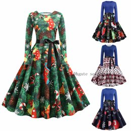 Pink teenage Party dresses online shopping - Women Autumn Winter Christmas Dress Vintage Print Waist Tie Up Big Swing Evening Party Robe Plus Size XL