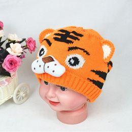 Beanie BaBies tiger online shopping - 1pcs Baby Girls Boys Hats Toddlers Crochet Knit Cute Tiger Hat Cap Beanies Winter Warm Kids Hats High Quality