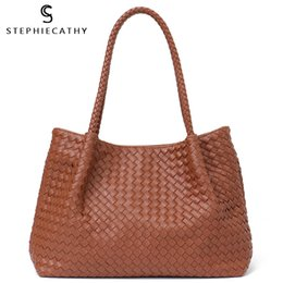 Ladies Navy Handbags Australia - Sc Women Vegan Leather Handbag Female Large Totes High Quality Handmade Woven Big Ladies Shoulder Top-handle Bags&purse Bag J190613