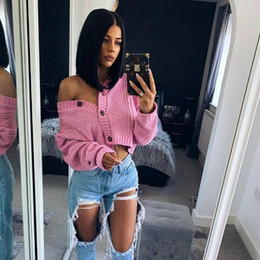 Wholesale black v neck cardigan sweater resale online - New Chic Women Cropped Cardigan Sweater Fall Spring Knitwear Short Cardigan Girl Long Sleeve Twist Crochet Top Pull Femme