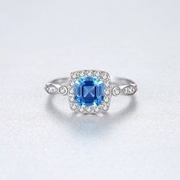 bride engagement rings Australia - CZCITY Genuine 925 Sterling Silver 6mm Blue Square Topaz Brilliant Rings for Women Luxury Engagement Wedding Bride Rings Jewelry