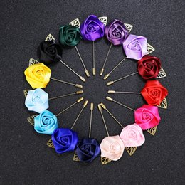 emerald clothing Australia - 33 colors Fabric Rose Flower Lapel Pin Mens Uniform coat clothes badge Broaches For women Wedding party Fashion Jewelry Accessories