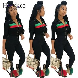 Clothing Zipper Australia - 2018 Spring New Striped Print Two Piece Set Women's Sexy Casual Outfits Ensemble Femme Sweatsuit Set Clothing Zipper Tracksuit