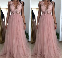 Cheap Sheer Top Prom Dress Australia - Dusky Pink A Line Prom Dresses 2019 Sheer Top Applique Lace Tulle Prom Dress Evening Gowns Cheap Bridesmaid Dress