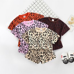 fb12878c3 Trendy Little Middle Girl Kids clothing set Leopard print Casual Loose Crop  top+Shorts 2pcs Outfits 2019 Summer