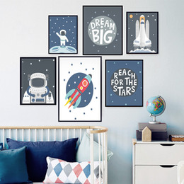 Discount kids room wall art quotes - DREAM BIG Quote Canvas Poster Space Illustration Baby Nursery Wall Art Painting Picture Scandinavian Kids Room Decor Pri
