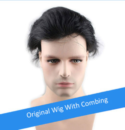 Indian Hair Wigs For Man Australia - TKWIG Modern Hair Company Wholesale 6 Inch Length Soft Indian Non-Remy Hair Straight Human Hair Topper Wig for Men