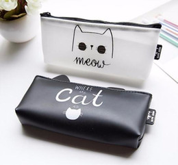 Stationery Australia - 2019 New High Quality Pu Leather Pencil Cases Stationery School Office Cute Cat Students Pen Case Cosmetic Bag A9