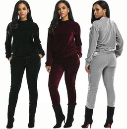 Velvet Tops For Winter Australia - Best Quality Velvet Sexy Two Piece Tracksuit For Women Solid Color Long Sleeve Top And Bodycon Pant Winter O Neck Set