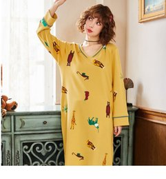 Ladies cotton nightdresses online shopping - YF534 ladies long sleeved nightdress cotton V neck cartoon sweet long section home service pajamas