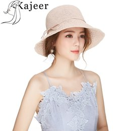 $enCountryForm.capitalKeyWord NZ - Kajeer New Beach Hat for Women Wide Brim Summer Sun Hats 2019 Straw Hat Bow Caps Street Photography Fashion Accessories UV sun