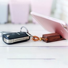 Portable smartPhone stands online shopping - 2 in Universal Phone Holder Stand Key Chain Multifunction Mini Walnut Wood Portable Smartphone Stand with Stainless Steel Key Ring M798F