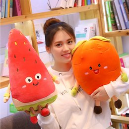 cartoon fruit watermelon Australia - Cartoon Fruit Vegetables Stuffed Plush Toys Creative Mushroom Strawberry Carrot Watermelon Soft Pillow For Kids Birthday Gift