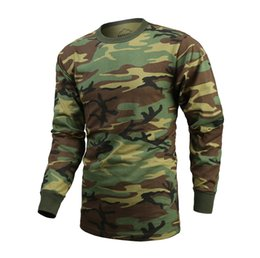 mens gym long sleeve shirt Australia - Mens Army Military Outdoor Gym Training Boot Camp Woodland Camo Long Sleeve T-SHIRT Tee MX200611