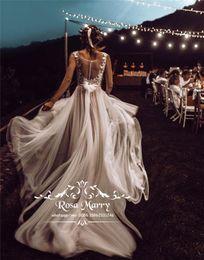 $enCountryForm.capitalKeyWord Australia - Modest Plus Size Country Beach Wedding Dresses 2019 A Line Vintage Lace Plus Size Chiffon Hippie Boho Bohemia Greek Wedding Bridal Gowns