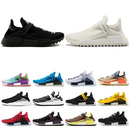 Canvas martial arts shoes online shopping - Human Race Hu trail pharrell williams men running shoes Nerd black cream Orange red mens trainer women designer sports runner sneakers