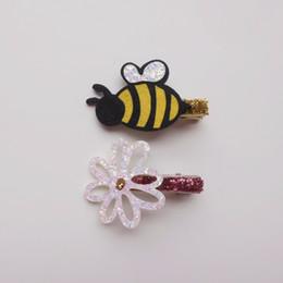 $enCountryForm.capitalKeyWord Australia - Boutique ins 10pcs Fashion Cute Floral Felt Bee Hairpins Solid Glitter Flower Animal Hair Clips Princess Princess Hair Accessories