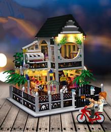 Block Charge Australia - [TOP] 1500Pcs set DIY Romantic heart Dream led light sweet villa Building blocks USB charge castle house + figures toy kids gift