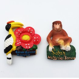 $enCountryForm.capitalKeyWord Australia - BABELEMI Malaysia Sabah Toucan Flower Proboscis Monkey Fridge Magnet Refrigerator Magnetic Sticker Souvenir Home Kitchen Decor