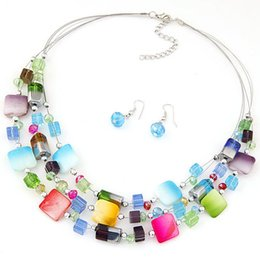$enCountryForm.capitalKeyWord Australia - Bohemia National Wind Beach Jewelry Set Multi Layers Colorful Crystal Beads Necklace Woman Choker with Earrings Girl Party Collar Necklace