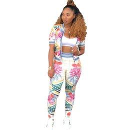 Women sport suit Floral Print short jacket Top High Waist Jogging Pants set Female Running Fitness Sports Suit Gym Workout Tracksuit NB-967
