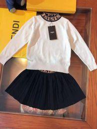 Cheap winter Clothing sets online shopping - Kid designer clothing set for girl F letter design autumn winter fashion dress set for little baby girl dress brand cheap clothe for child