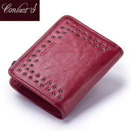 wallet brands for ladies 2019 - Contact's New Genuine Leather Wallet For Women Vintage Brand Small Short Ladies Purse Zipper Pocket Coin Organizer