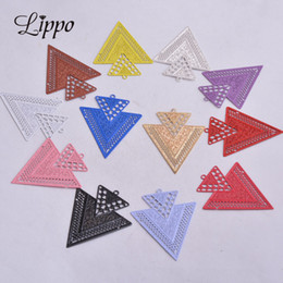 wholesale geometric charms Australia - 50pcs AB3335 Silver Big Triangle Charm Earrings Findings Geometric Colorful Pendants Connectors Diy Jewelry Earrings Red Color