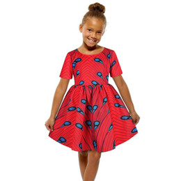 Discount peacock print clothes 2020 Classic Peacock Printed girls african dress summer clothing for children cheap Africa baby kids Princess dress free ship