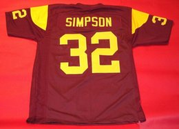 cheap footballs for sale NZ - Cheap #32 O.J. SIMPSON CUSTOM USC TROJANS Wine Red JERSEY HEISMAN Men Stitching Football jerseys Fat man Big And Tall 4XL 5XL 6XL For sale