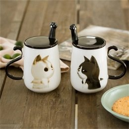 cartoon mugs cups Australia - 500ML Cartoon Cat Ceramic Cup Milk Coffee Mug With Cover And Stainless Steel Spoon Cup Creative Water Mug Office Birthday Gifts