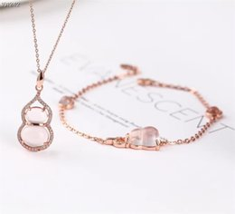 bracelets cute animal 2019 - wholesale SGARIT brand fashion animal cute rose gold 925 sterling silver natural quartz pink crystal ring earring jewelr