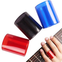 amplifiers for electric guitar UK - 3 colors optional Portable Guitar Slide Glass Finger Slider Black Red Blue Length 2.6mm for Acoustic Electric Guitar Accessories