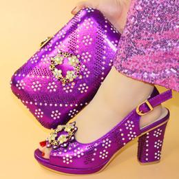 $enCountryForm.capitalKeyWord Australia - 2019 Latest Purple Color Italian Matching Shoes And Bag Set For Wedding Nigerian Sandals Rhinestone Party Shoes And Bag Set