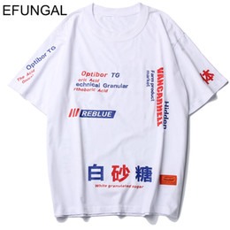 9cd6ee36b57e EFUNGAL Chinese Letter Print Fashion Short Sleeve 2019 New Arrival T-shirts  Men Hip Hop Tops Urban Tees Shirts Cotton Streetwear