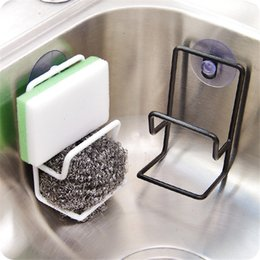 Discount soap holder wall mount - Home Practical Kitchen Bathroom Rack Sink Sponge Draining Towel Soap Storage Holder Wall Mounted With Suction Cup wh0590
