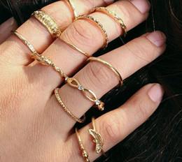 Hollow Fingers Australia - 12pcs Set Boho Knot flower Midi Fingers Rings Sets For Women Fashion Retro hollow Knuckle Ring