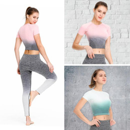 Gradient Women Sports Yoga Slim Crop Tops Ladies Fitness Cuello redondo Cintura alta Camisetas de manga corta Ropa Rosa, azul lago